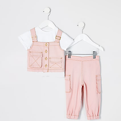 Mini girls pink utility denim vest outfit