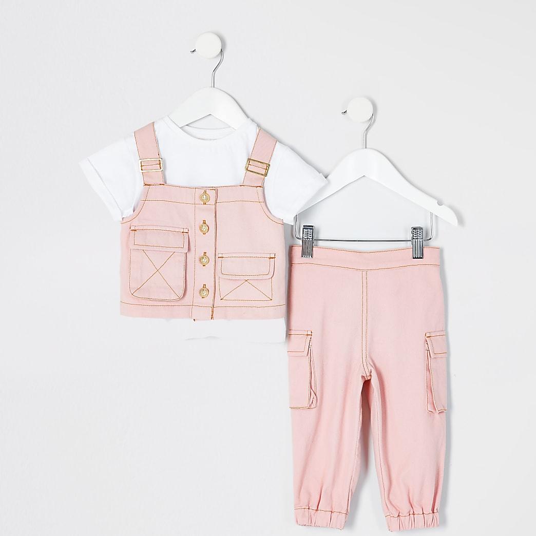 Mini girls pink utility denim vest outfit