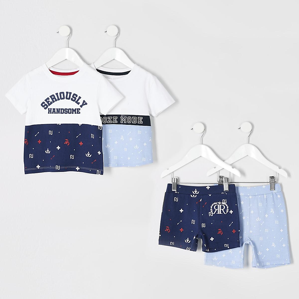 Mini boys blue snooze set multipack