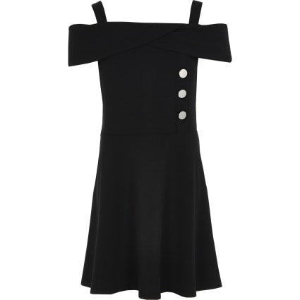 Girls black bardot button skater dress