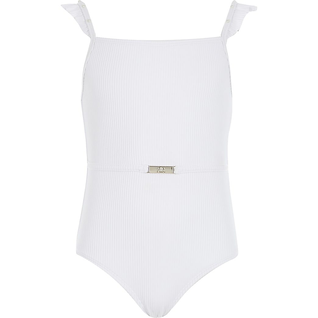 Girls white ribbed frill swimsuit