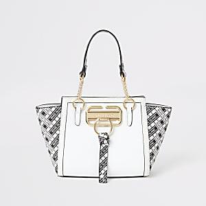 Witte handtas met zij-inzetten en RI-print voor meisjes