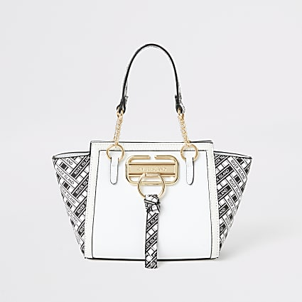 Girls white RI printed winged tote bag