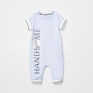 Blauw rompertje met 'Handsome'-folieprint voor baby's