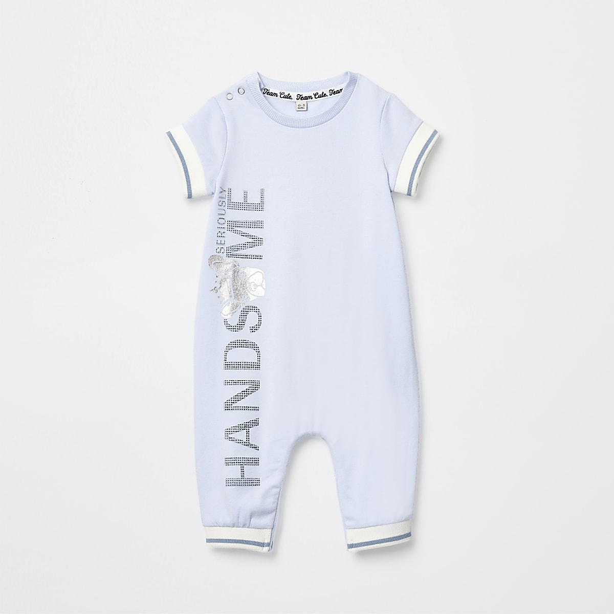 Baby blue 'Handsome' foil print baby grow