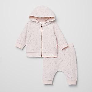 Outfit met roze sweatshirt van velours met rits voor baby's