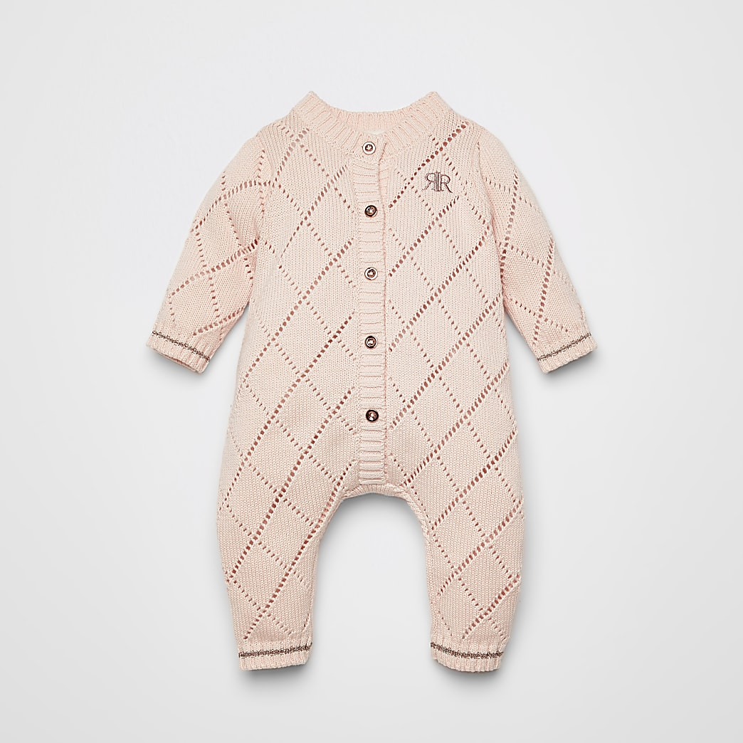 Baby pink pointelle knitted baby grow