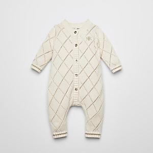 Strick-Strampelanzug in Creme mit Pointelle-Muster für Babys