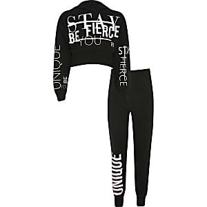 Schwarzes Hoodie-Outfit mit RI Active-Print für Mädchen