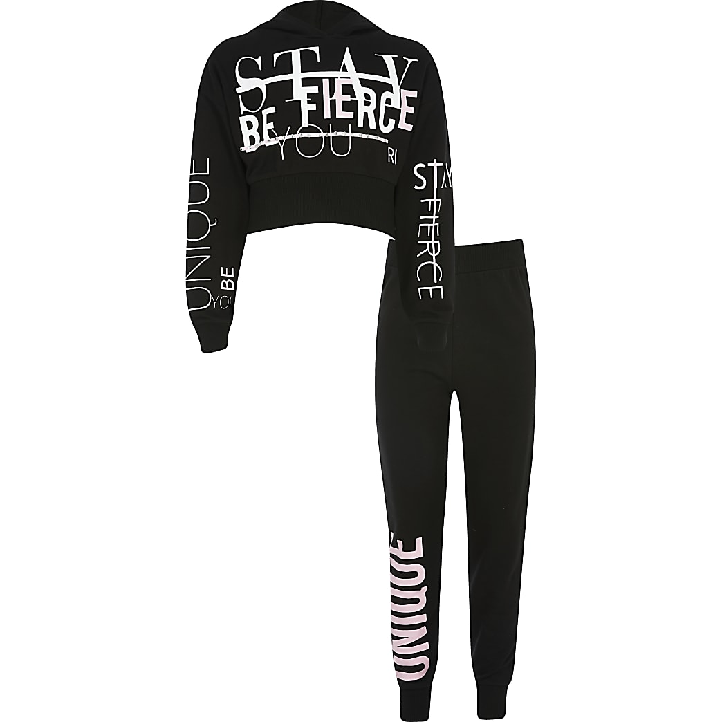 Girls black RI Active printed hoodie outfit