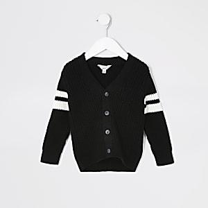 Cardigan noir en maille à rayures contrastantes Mini garçon