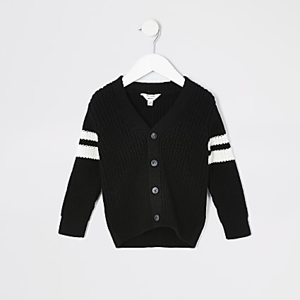 Mini boys black block stripe knitted cardigan