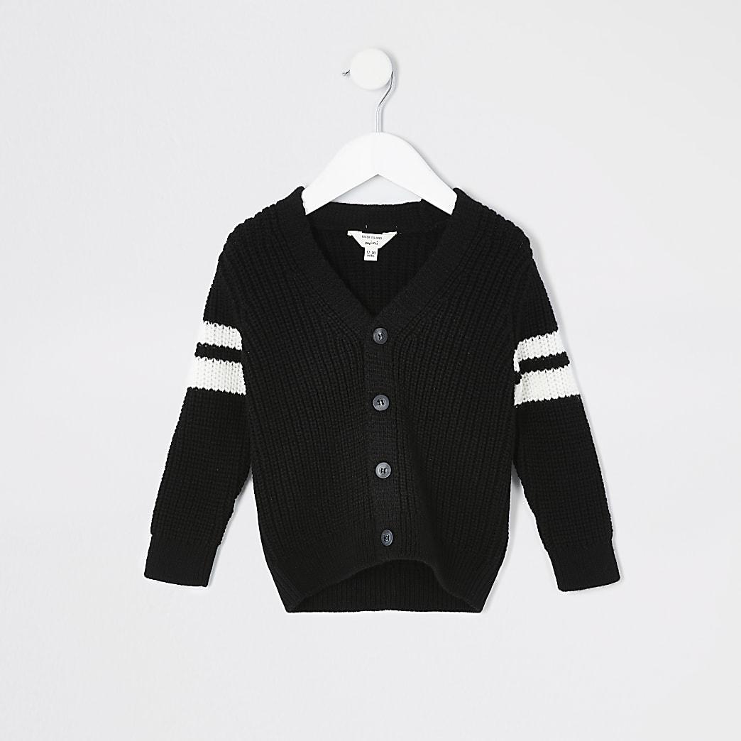 Mini - Zwart gebreid vest met streepvlakken voor jongens