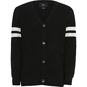 Cardigan noir en maille avec rayures aux manches pour garçon