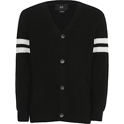 Boys black stripe sleeve knitted cardigan