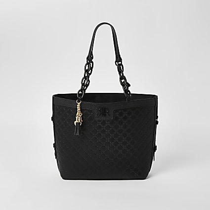 Girls black RI embossed shopper bag