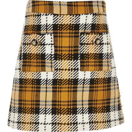 Girls yellow check A line skirt