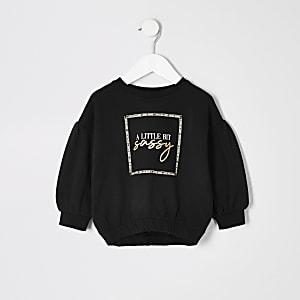 Mini – Schwarzes Sweatshirt mit Muster und Bundzug für Mädchen