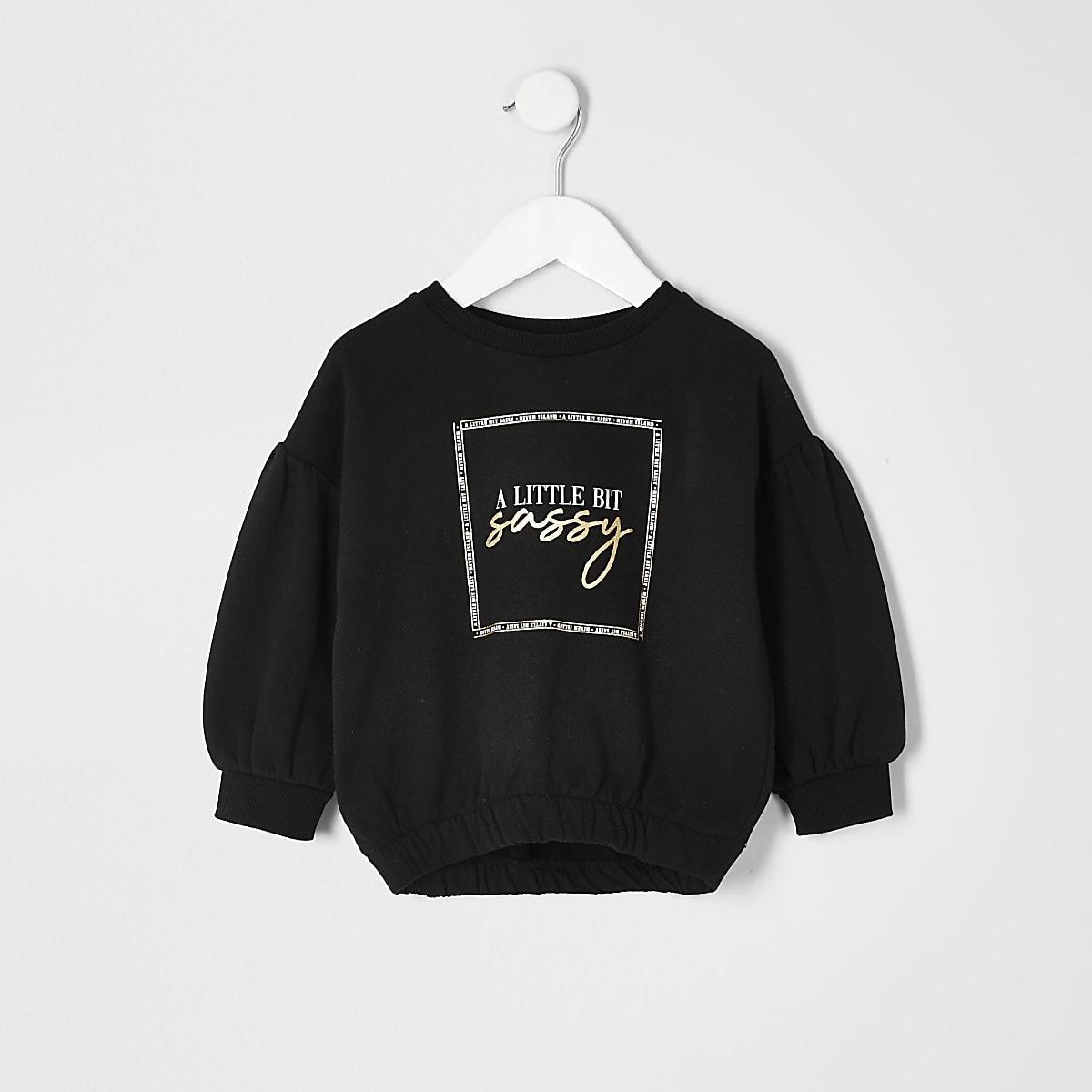Mini girls black print cinched hem sweatshirt