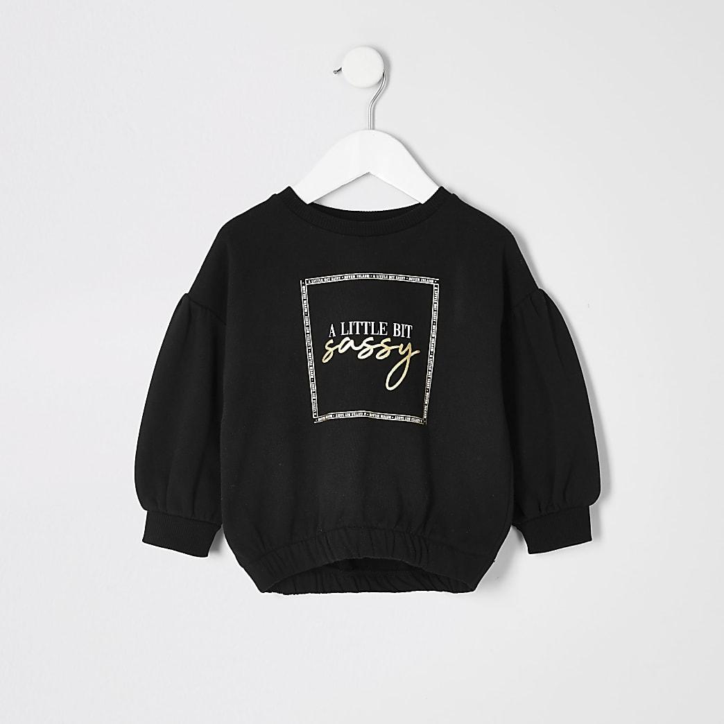 Mini - Zwart sweatshirt met geribbelde zoom en print