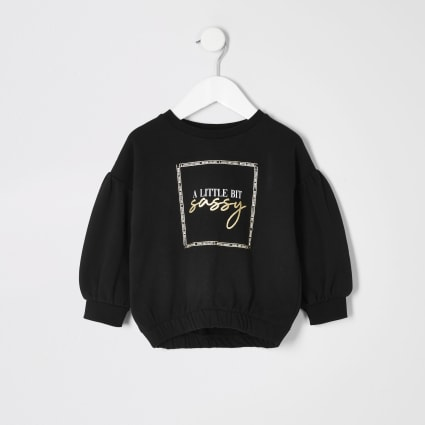 Mini girls black print cinched hem sweatshirt