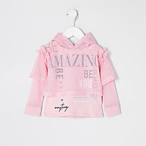 Mini – RI Active – Hoodie aus rosa Netzstoff für Mädchen