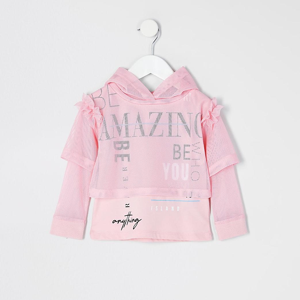 Mini girls RI Active pink mesh hoodie