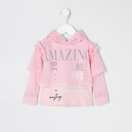 Mini girls RI Active pink mesh hoodie