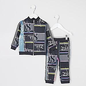 Mini - Zwarte trainingspak  outfit met print voor meisjes