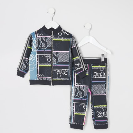 Mini girls black printed tracksuit outfit