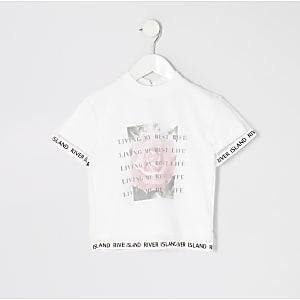 Mini - Wit mesh T-shirt met 'best life'-print voor meisjes
