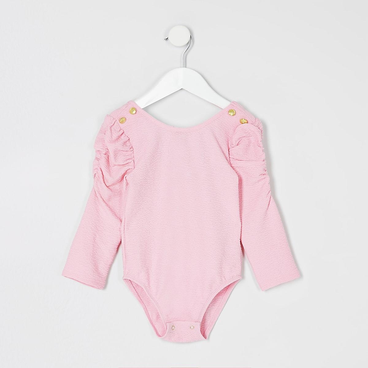 Mini - Roze bodysuit met lange mouwen en textuur voor meisjes