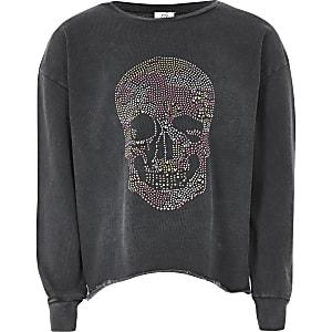 Langärmeliges Sweatshirt in Grau mit Totenkopfprint für Mädchen