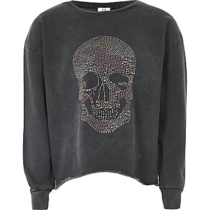 Girls grey skull print long sleeve sweatshirt