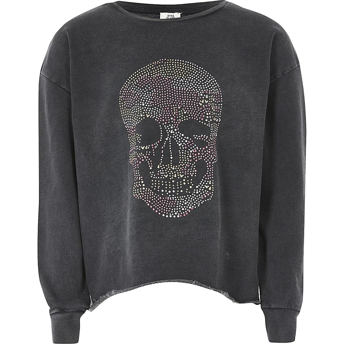 Grijs sweatshirt met lange mouwen en doodshoofdprint voor meisjes