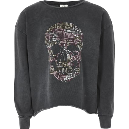 Girls grey skull print long sleeve sweatshirt