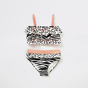 Mini girls beige animal print frill bikini