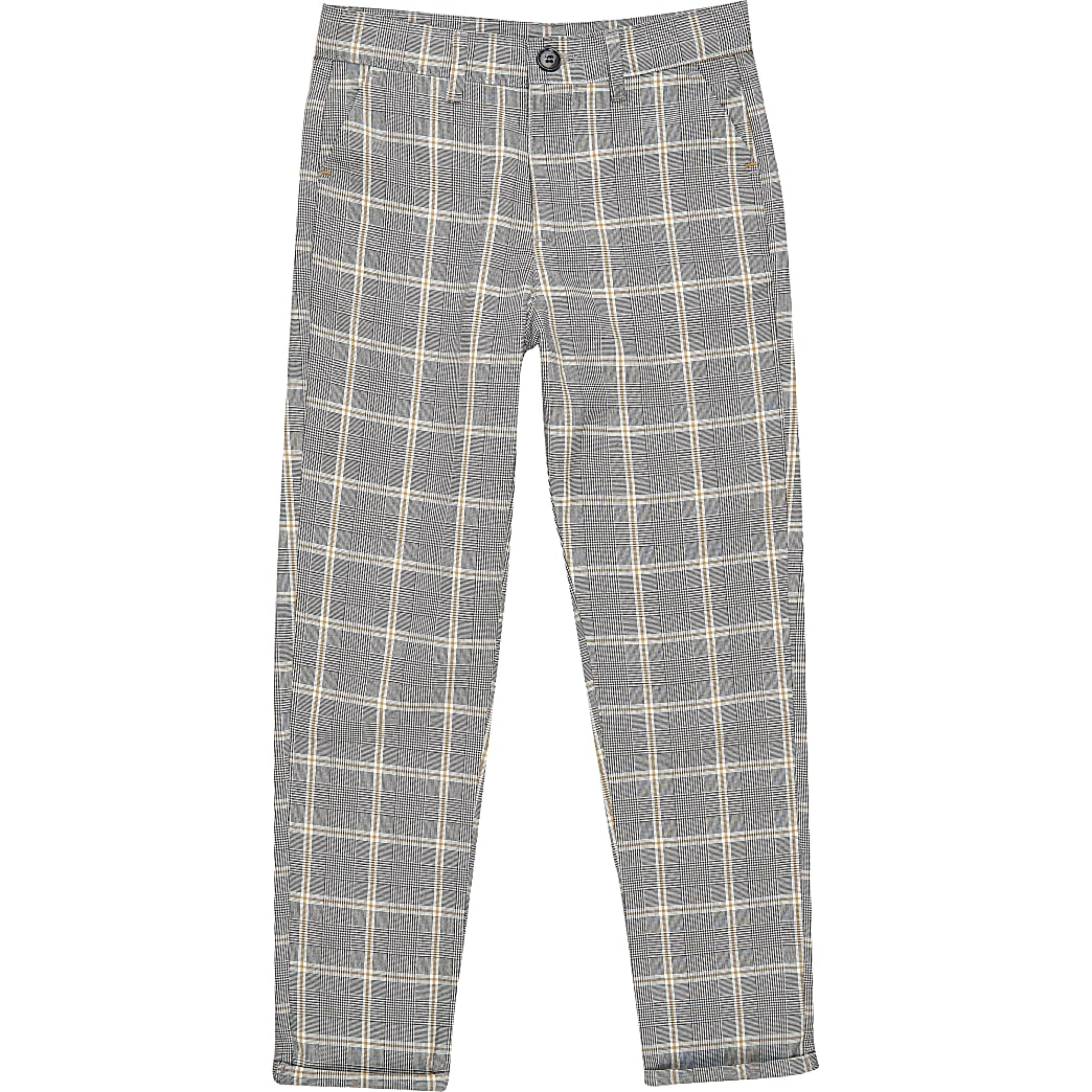 Boys ecru check smart trousers