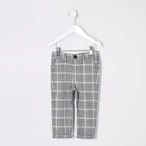Mini – Graue, elegante Jungenhose mit Karomuster