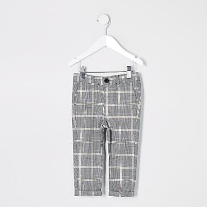 Mini boys grey check smart trousers