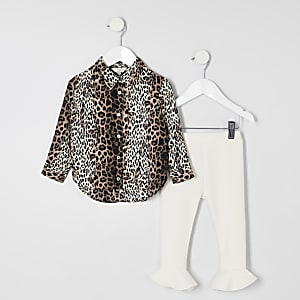 Mini girls brown leopard print outfit