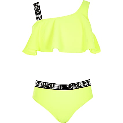 Girls neon yellow one shoulder bikini set