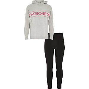 """Outfit mit grauem Strickhoodie """"Fashionista"""" für Mädchen"""