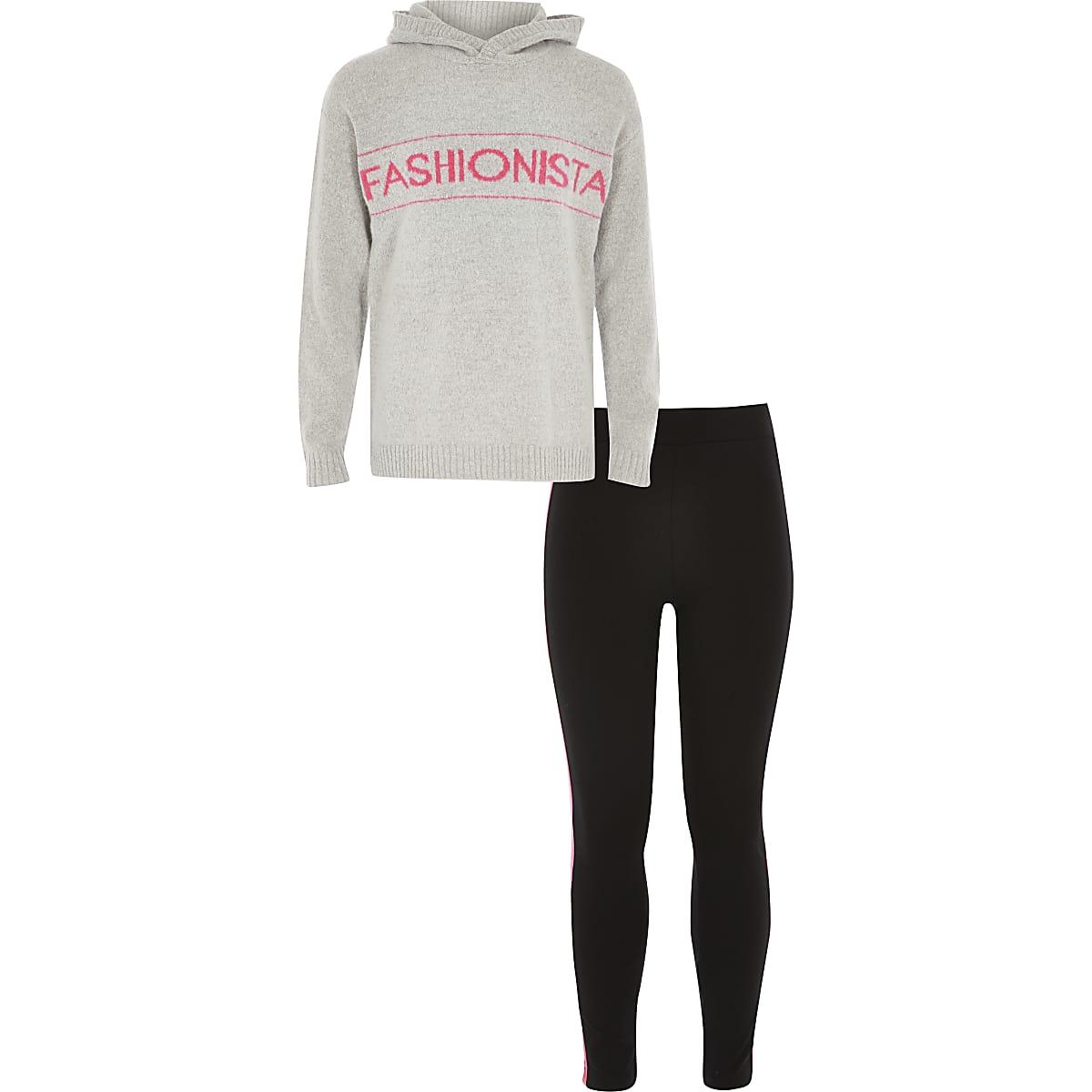 Outfit met grijze hoodie met gebreide 'Fashionista'-tekst voor meisjes