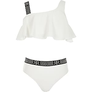 Weißes, texturiertesBikini-Set mit einer freien Schulter für Mädchen