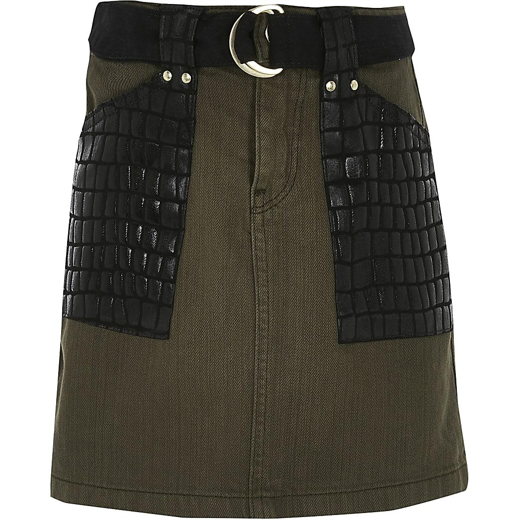 Girls khaki croc embossed A line denim skirt