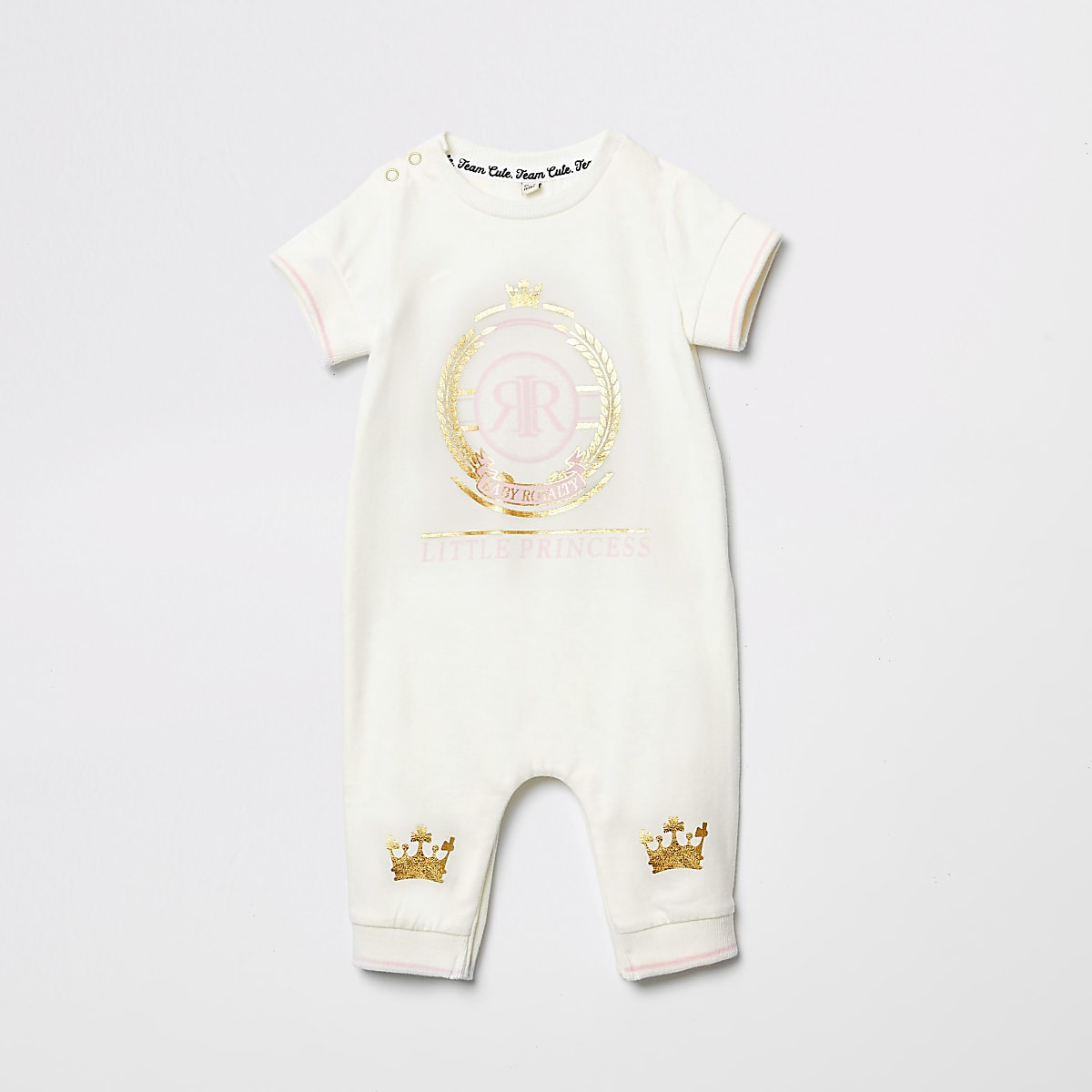 Baby cream 'Little princess' print baby grow