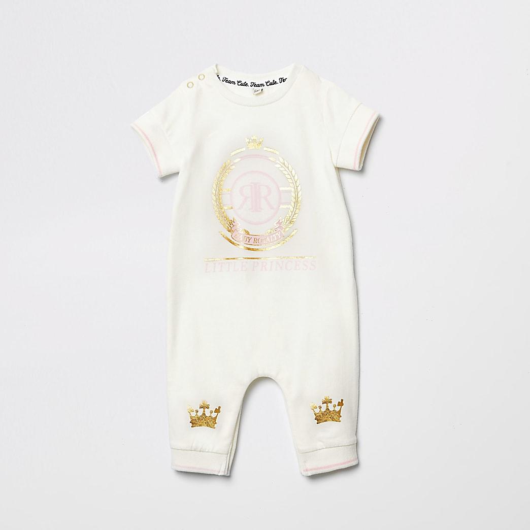Baby cream 'Little princess' print baby grow