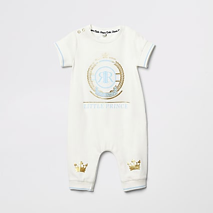 Baby cream 'Little prince' print baby grow
