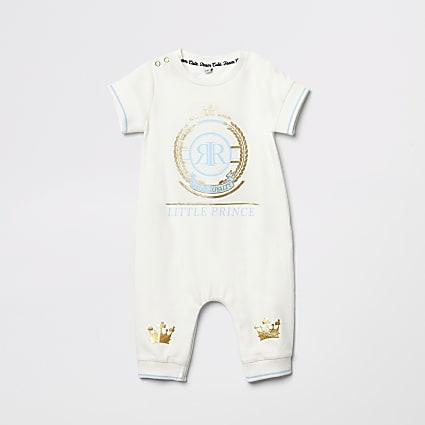 Baby cream 'Little prince' foil print romper